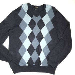 Banana Republic Large Sweater Blue Argyle Cotton